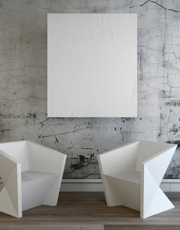 Two contemporary angular white chairs below a blank white canvas in a simple frame on a textured patterned grey wall. 3d Rendering.