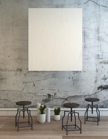 3D representa la escena de la habitación con muro de hormigón, marco en blanco y un conjunto de tres taburetes ajustables redondos vacíos sobre piso de madera. Representación 3D.