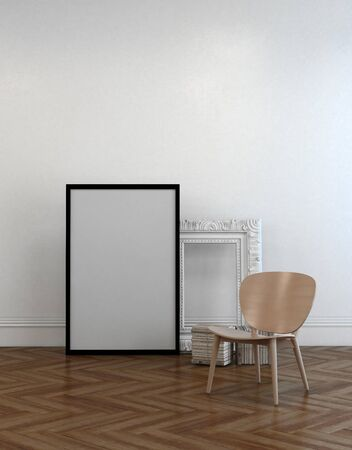 frame wall: Chair alongside two empty picture frames leaning against a white wall, one simple, black modern frame, one white vintage. 3d Rendering.