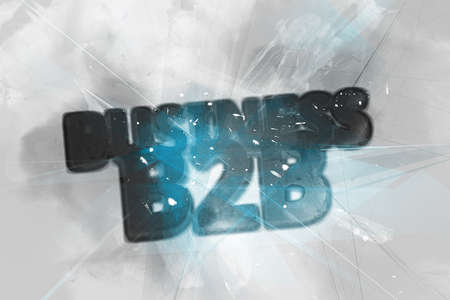 painterly: Exploding Business B2B logo rendered in 3D with sparkles, intersecting lines and painterly effect in background