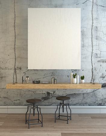 3D mit zwei runden verstellbare Stühle und große leere Bilderrahmen über Betonwand Grafik einzigartigen hängenden Schreibtisch machen. 3D-Rendering.
