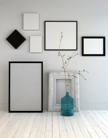 Assortment of different empty picture frames on a light grey wall above a rustic white painted parquet floor with a blue glass bottle and plant. 3d Rendering.