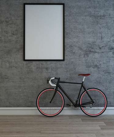 Large blank picture frame with a mans bicycle leaning against the grey textured wall below on a wooden parquet floor. 3d Rendering.