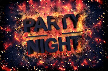 merrymaking: Burning orange fiery flames and explosive sparks on a dark background with the word - PARTY NIGHT - in black text for a dramatic poster design Stock Photo