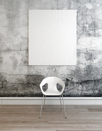3D rendered setting of room with plastic white chair and blank frame centered in front of old cracked concrete wall. 3d Rendering.