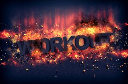 inferno: Burning orange fiery flames and explosive sparks on a dark background with the word - WORKOUT - in black text for a dramatic poster design