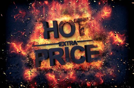 dynamic heat black: Burning orange fiery flames and explosive sparks on a dark background with the word - HOT PRICE - in black text for a dramatic poster design Stock Photo