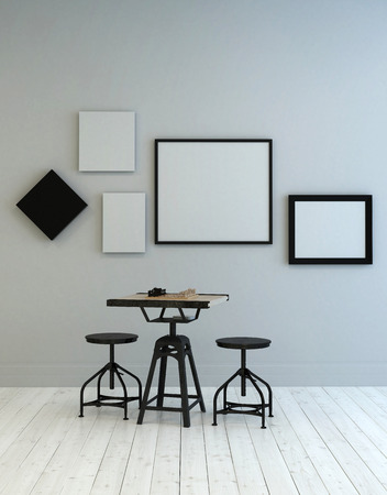 interior wall: 3D rendered graphic interior scene of little square table and adjustable round stools with five blank picture frames on gray wall over white wooden floor. 3d Rendering. Stock Photo