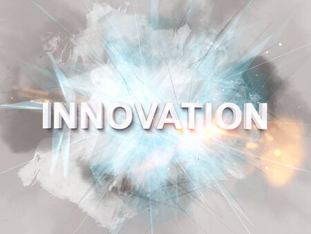painterly effect: Intense innovation text logo rendered in 3D with sparkles, fire, intersecting lines and painterly effect in background