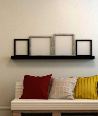 Modern couch with cushions and four blank picture frames on a shelf above with copy space for your art. 3d Rendering. 免版税图像