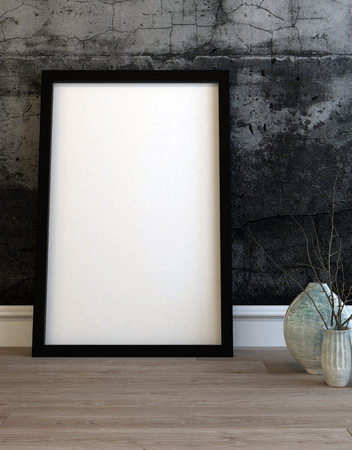 modern frame: Large empty black picture frame leaning on a modern grey textured wall alongside two ceramic vases on a wooden floor. 3d Rendering.