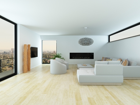 windy city: Modern white living room interior with a light parquet floor, white lounge suite and large view window overlooking a city, 3d render Stock Photo