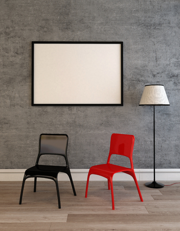 framed picture: Contemporary black and red chairs on a wooden floor below a large empty picture frame hanging on a grey wall. 3d Rendering. Stock Photo