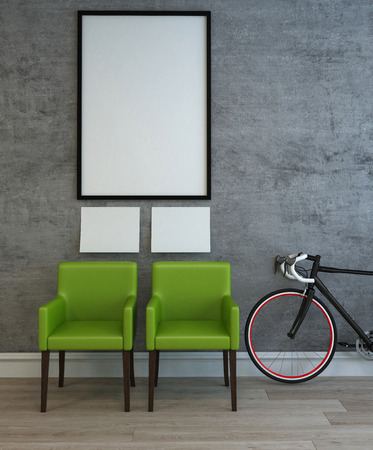 adult wall: Creative 3D interior scene of two green chairs, adult sized bicycle and three blank white picture frames on gray wall over wooden floor. 3d Rendering. Stock Photo