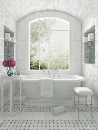 Fresh white monochrome luxury bathroom interior with an arched window overlooking a garden, 3d render