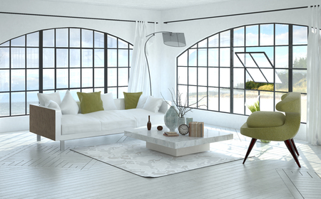 3D interior of spacious living room with square coffee table, sofa, green chair and oceanfront background seen through large pivoting window. 3d Rendering. Stock Photo