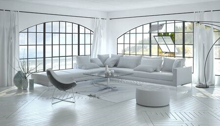living room sofa: 3D architecture render of peaceful spacious white living room with large windows, coffee table, sofa, plants and carpet over matching wood floor. 3d Rendering.