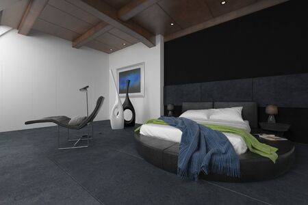 render: 3D render of messy bed covered by blue and green blankets in room with recliner, floor lamp and black and white abstract sculptures in background. 3d Rendering.