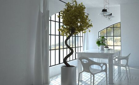 table and chairs: 3D render of interior with sunlight coming through windows in kitchen near table and chairs next to miniature tree in planter. 3d Rendering.