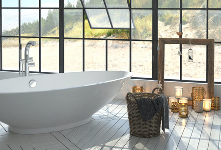 windowpanes: Romantic modern monochrome white bathroom interior with a freestanding boat-shaped tub and burning candles below a large view window overlooking a beach. 3d Rendering. Stock Photo