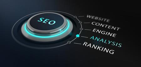 interruttore Design moderno o il pulsante con la parola SEO - Search Engine Optimizationon - in cima circondata da con le parole sito web, il contenuto, il motore, l'analisi e la classifica con un backgorund offuscata nero.