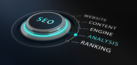 Modern design switch or button with the word SEO - Search Engine Optimizationon - on top surrounded by with the words website, content, engine, analysis and ranking with a black blurred backgorund. Stock Photo