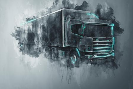 Pojedyncze streszczenie ciężarówka z przyczepą ciągnika w szarych malowania kresek i płaskie ciemnym tle z szorstkiej malarski efekt kapanie Zdjęcie Seryjne