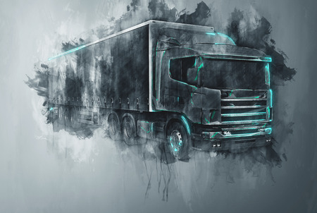 Single abstract tractor trailer truck in gray paint strokes and flat dark background with rough painterly dripping effect