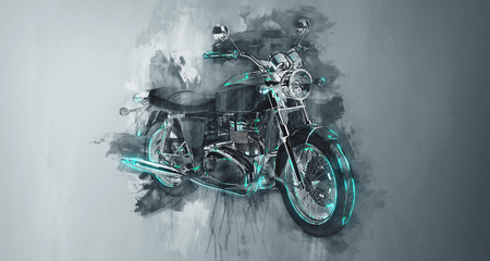 Enkele klassieke motorfietsfiets in grijze verfstreken en platte donkere achtergrond met ruw druppelend schilderend effect