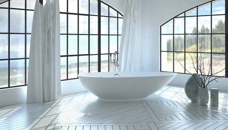 corner tub: Modern minimalist white monochromatic bathroom interior with a corner freestanding tub between two large arched windows overlooking the seafront on a decorative parquet floor. 3d Rendering.