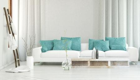 흐르는 커튼과 지사를 가지고있는 대형 유리 화병 사이에 터키석 컬러 베개로 장식 된 넓은 흰색 소파. 3D 렌더링.