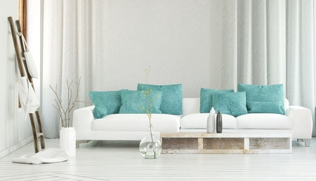 Wide white sofa decorated by turquoise colored pillows in between flowing curtains and large glass vase with branches. 3d Rendering.