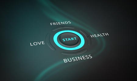 High tech start push button for holistic health with choices in love, friendship, business and health Banco de Imagens