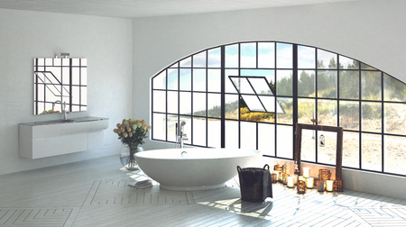 windowpanes: Interior architectural 3D render of luxurious bathroom with oval tub next to candles and wide arched pivoting window. 3d Rendering.