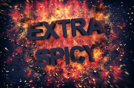 molted: Fun dynamic fiery poster for - Extra Spicy - food with black text surrounded by orange flames and explosive sparks on a dark background
