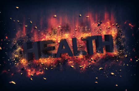 red hot iron: Burning embers and exploding flames surrounding the word health over black background Stock Photo