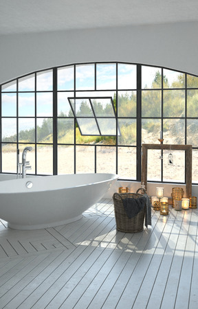 coastal: Large spacious bright white bathroom interior with a freestanding boat-shaped tub and large arched window overlooking coastal dunes with burning candles on the white parquet floor. 3d Rendering.