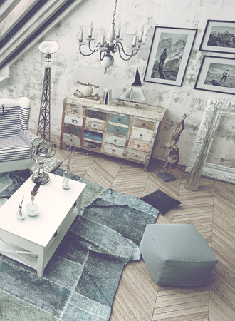scandinavian: High Angle Architectural Interior of Living Room Filled with Natural Daylight - Luxury Apartment with Mixture of Old and New Style Furnishings and Decor. 3d Rendering. Stock Photo