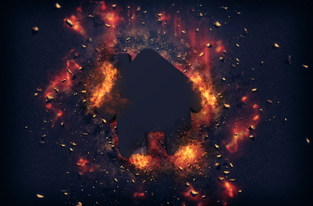 Flaming embers and exploding fire surrounding the little house icon over black background
