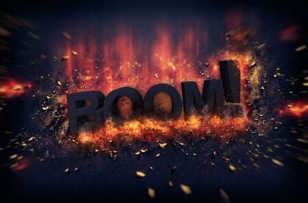 dynamic heat black: Burning orange fiery flames and explosive sparks on a dark background with the word - BOOM ! - in black text for a dramatic poster design
