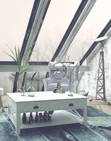 sitter: Ample Windows and Skylights in Living Room with Mixture of Antique and Modern Decor - Luxury Loft Apartment with Foggy Windows and Tasteful Furnishings. 3d Rendering.