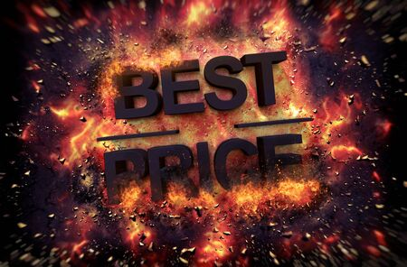 red hot iron: Fiery explosive poster template for Best Price with black text consumed in flames and sparks on a dark background