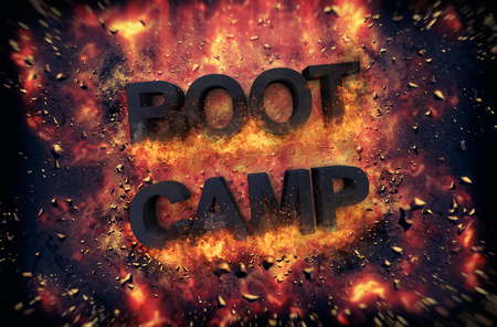red hot iron: Burning orange fiery flames and explosive sparks on a dark background with the word - BOOT CAMP - in black text for a dramatic poster design
