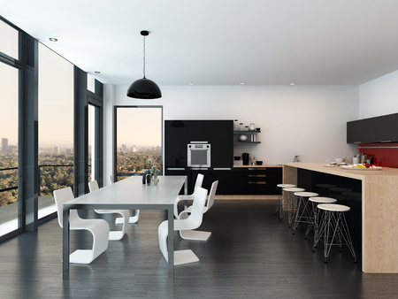 modular: Modern open-plan kitchen and dining room interior decor with a molded dining suite, fitted appliances and cabinets, bar counter, and floor-to-ceiling windows overlooking the city. 3d Rendering.