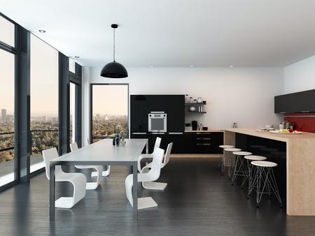 Stijlvol wit eetkamer suite in een lichte interieur met een rij