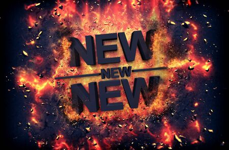 red hot iron: Burning orange fiery flames and explosive sparks on a dark background with the word - NEW - in black text for a dramatic poster design