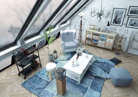 High Angle Architectural Interior of Modern Living Room with Antique and Modern Decor - Luxury Apartment with Large Windows. 3d Rendering.