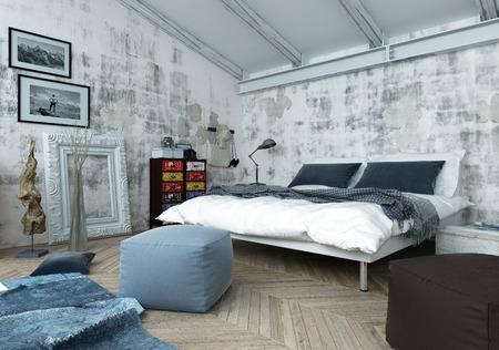 Architektonische Innere Schlafzimmer Gefüllt mit Tageslicht - Luxus-Apartment mit einer Mischung aus alten und neuen Stil Möbel und Dekor. 3D-Rendering. Lizenzfreie Bilder