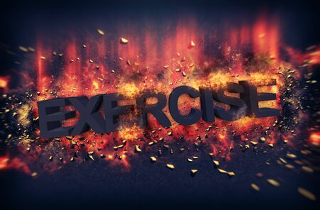 embers: Burning embers and exploding fire surrounding the word exercise over black background Stock Photo