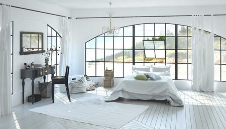 Elegant ruime witte slaapkamer interieur met een schrijftafel tussen twee ramen en dubbele bed onder een grote gebogen venster op een witte parketvloer met inlay. 3D-rendering. Stockfoto